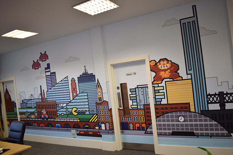Custom Printed Wall Coverings - Pixel Kicks, Manchester