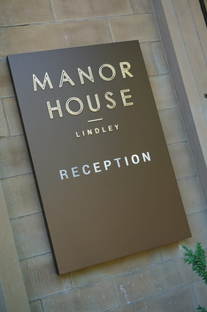 Manour House Lindley Reception Sign