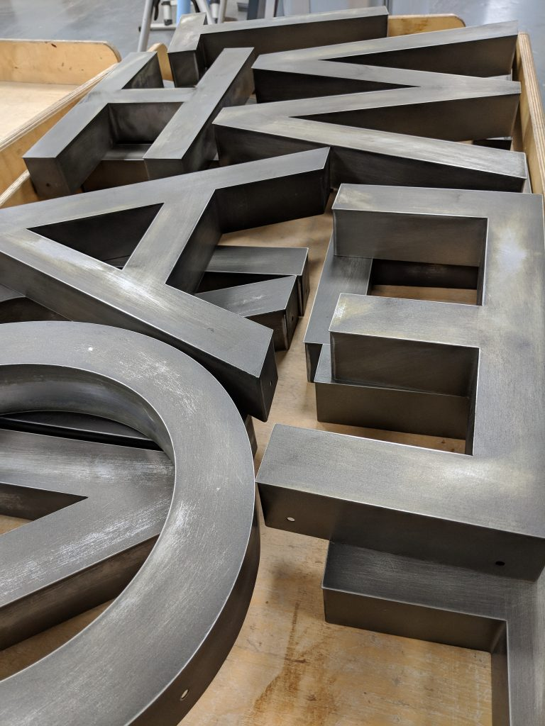 3D Lettering - tarnished steel