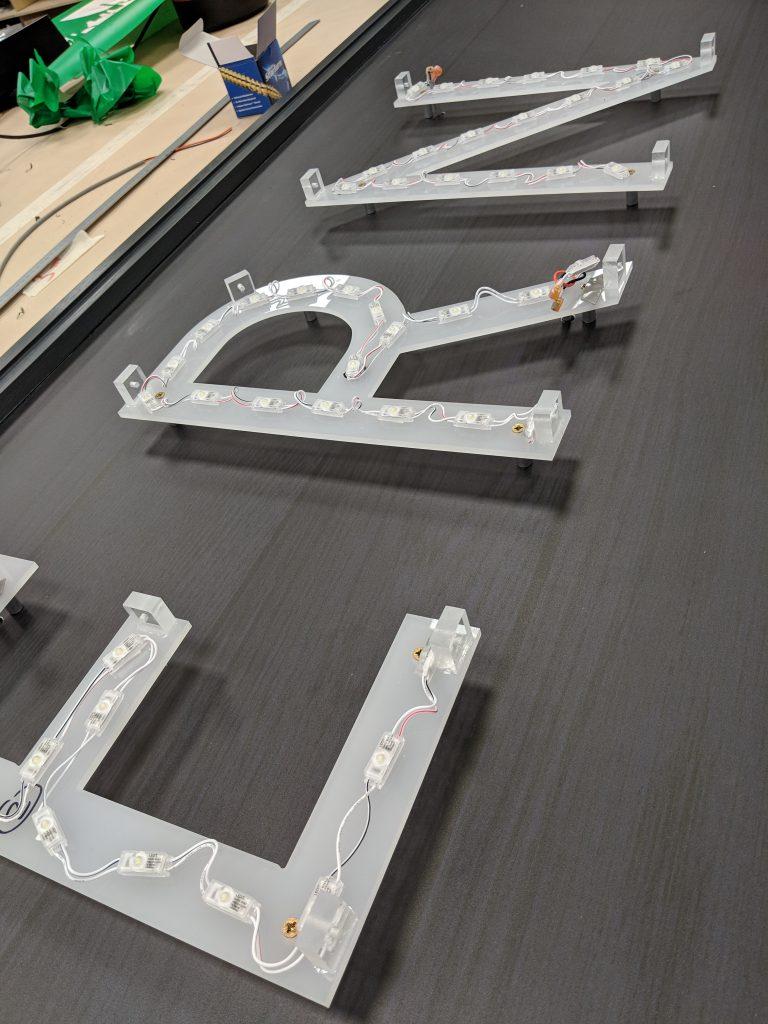 LED lighting mounted on acrylic for pub signage