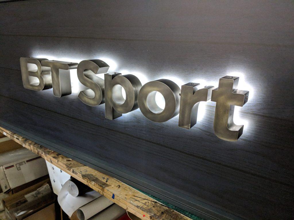 LED Halo Lit Steel 3D Lettering Sign