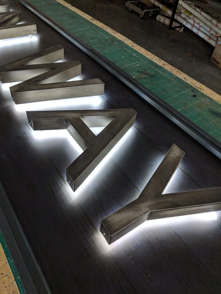 LED Halo Lit Steel 3D Lettering Sign