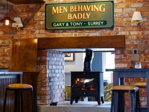 Men Behaving Badly Sign, Plume of Feathers
